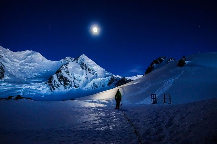 """Early morning heading to Anzac Peak Plataeu Hut Mt. Cook Range, NZ  """"I Want To See Mountains Again,  Mountains Gandalf!"""""""