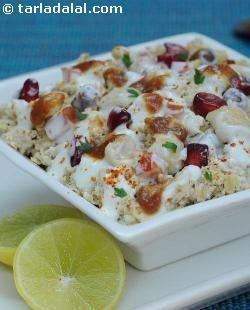 I am pleased to present to you a chaat that is so healthy yet unbelievably delicious! this is a fantastic recipe and one of my favorites. When hunger pangs strike, this is quick to assemble - oats, vegetables, curd and chana and tangy chutneys. Good health and great taste!