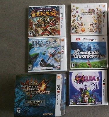 NEW 3DS Game Lot of 6 games Monster hunter 4 ultimate Collector's Edition,zelda
