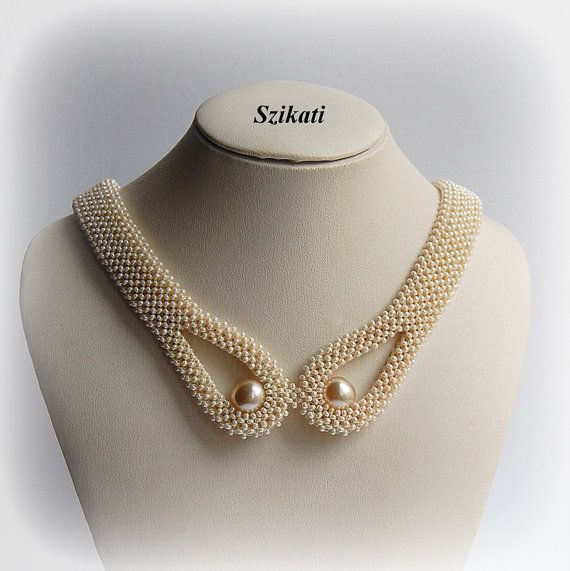 Beige pearl necklace OOAK seed bead necklace Statement by Szikati