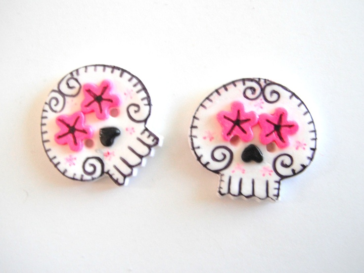 Button Twin Sugar Skulls handmade polymer clay buttons ( 2 ). $5.25, via Etsy.