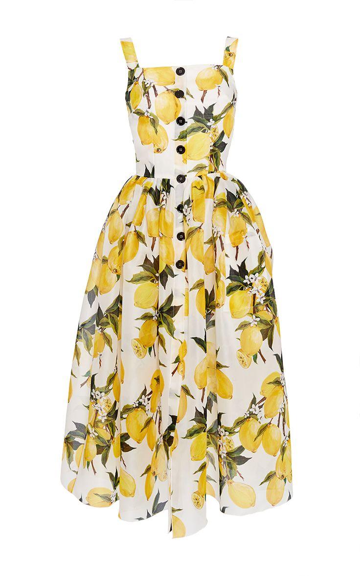 Cotton Lemon Print And Needlepoint Dress by DOLCE & GABBANA Now Available on Moda Operandi