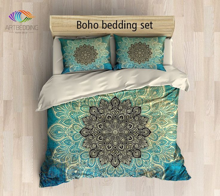 Mandala bedding, Turquoise green Lace mandala  duvet cover set, Bohemian duvet cover, Boho rustic bedspread