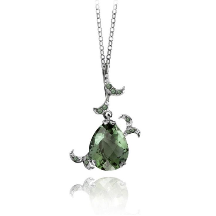 Whispering Pendant - Green Amethyst - Fei Liu #jewellery #feiliu #necklace #luxury #earrings