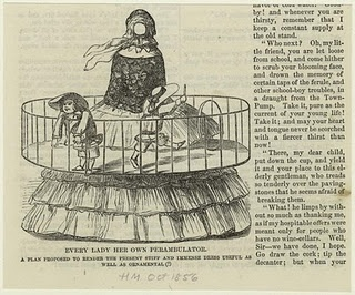 Cartoon commentary on 1860's hoop skirts ^_^