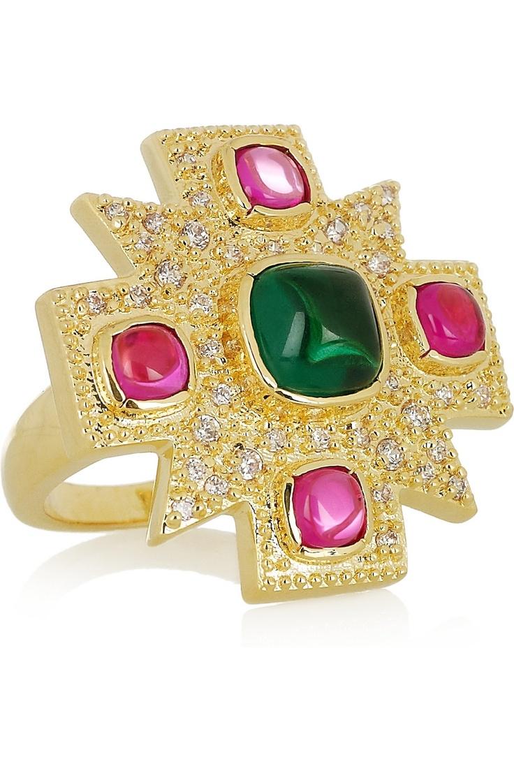 Kenneth Jay Lane   Maltese Cross 18-karat gold-plated cubic zirconia ring  Maltese pride, yo! @Amber Siepierski