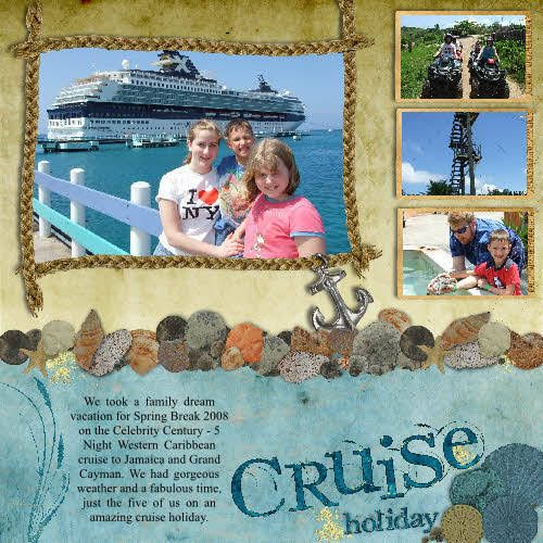 """Cruise"" Layout -to create framed border braid together twine and top of with anchor charm. -use realistic paper image of shells for border and use textured paper for additional borders"