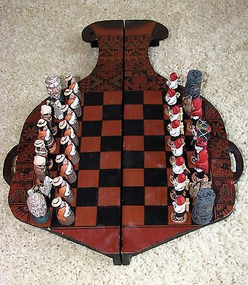 Incas Versus Spanish Chess Set Hand-painted Clay Pieces