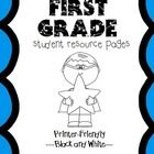 First Grade Help Pages for Reading and Math Folders, Homework Folder