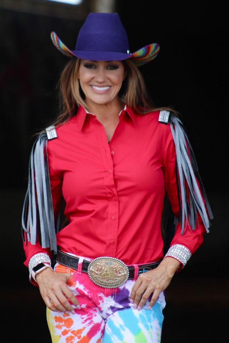 Red rodeo shirt black fringe ranch dress 39 n fallon for Ranch dress n rodeo shirts
