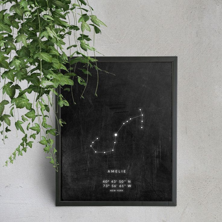 Behold the stars that belong to your precious place and moment in time. This Scorpio constellation PRINTABLE features a minimal interpretation on rustic chalkboard texture. Optional is a name, GPS coordinates and location text in a modern font with a subtle neon-light glow. https://www.etsy.com/au/listing/477484394/