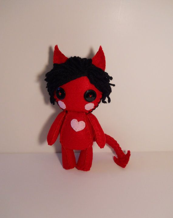 Felt little red devil with heart plush stuffed by SouthernGothica, $30.00