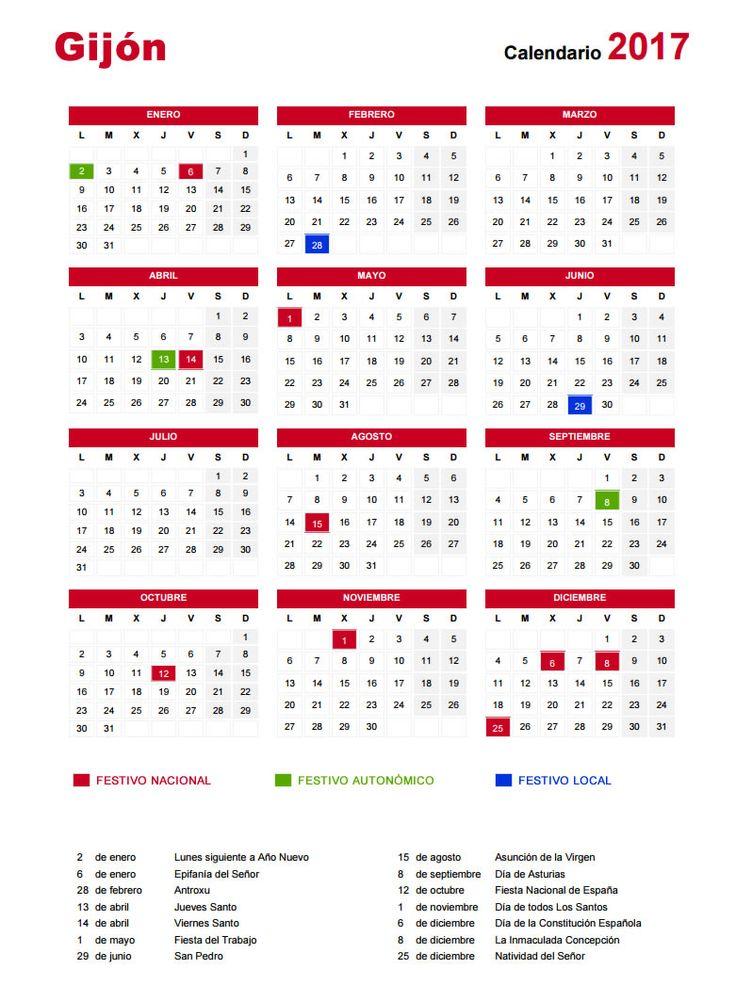 Calendario 2017. Días festivos en #Gijón #Asturias Bank holidays in #Gijón #Spain