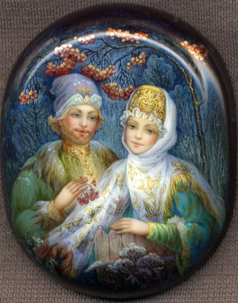 Russian lacquer miniature from the village of Fedoskino. Typical picture: a rendezvous under a Rowan tree.