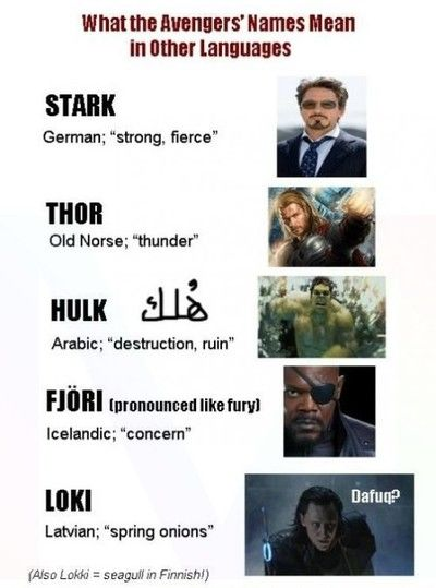 What the Avengers names mean in other languages.
