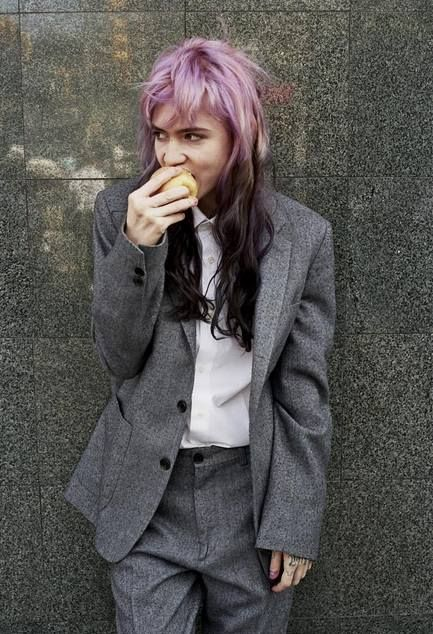 Grimes doin' her thing and looking great!  <3 menswear