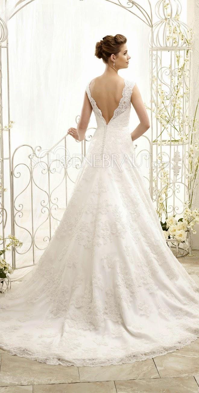 Hochzeitskleid a linie Lace mit Spitze Rückenfrei rund Bateau Hals [#UD9128] - schoenebraut.com