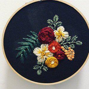 Beginner Embroidery Kit, DIY Hoop Art Kit, Modern Embroidery