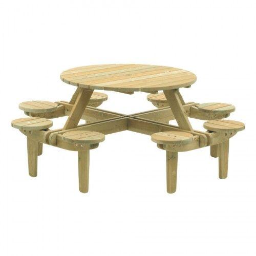 Alexander Rose Farmhouse Picknick-Tisch mit 8 Sitzen Kiefer