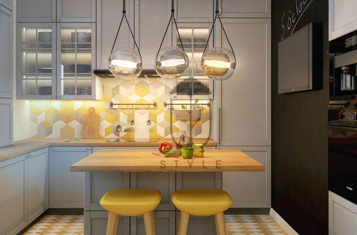 Кухня в современном минималистичеком стиле с закрытыми фасадами. Кухонный фартук в лимонно-желтых тонах является ярким акцентом в дизайне помещения.