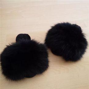 Winter Big Fluffy Plushed Fox Fur Soft Slippers Luxury Big Fur Slippers Discount