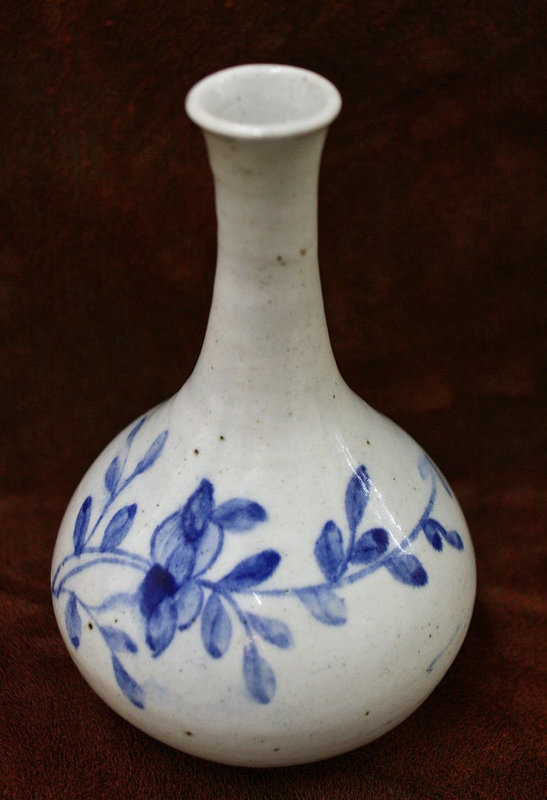 19th Century Korean Blue and White Porcelain Bottle