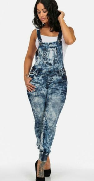 Acid wash skinny jean overalls Acid Wash Jean Overalls With Elastic Cuffs american quality Jeans