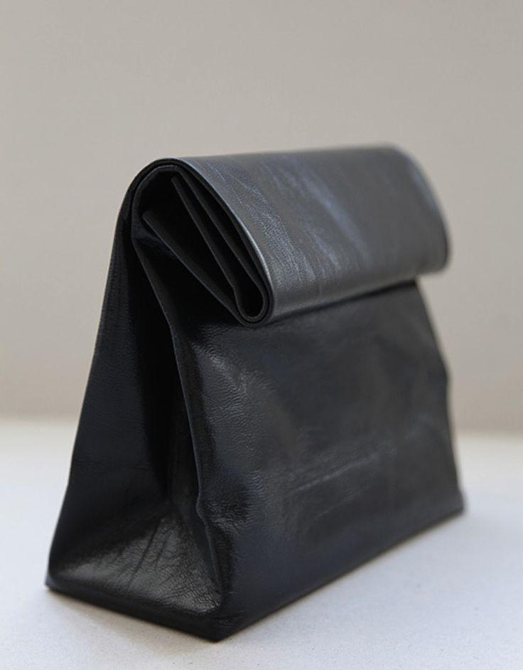 Leather 'paper bag' bag