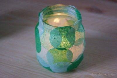 Wiosenny świecznik ze słoiczka. Spring candlestick from the jar.