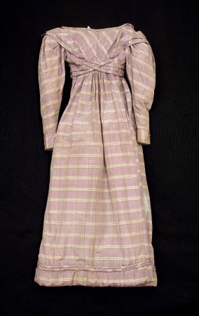 Dress -1825-30 A woman's taffeta dress dating from 1825-1830. Fabric - Violet grey silk taffeta with woven tartan stripe in pink, green and cream. National Trust. Nancy Bradfield dates more precisely to 1827-8 p141-2