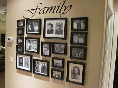 Family Picture Arrangements. I want a wall like this in my house one day