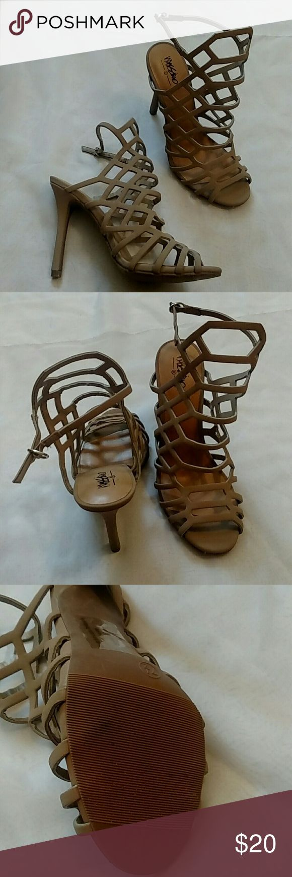 Nude strappy high heels Strappy high heeled shoes. In good condition. Only worn once for a small amount of time. Bottoms show very little wear. Shoes Heels