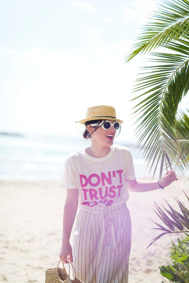 Tenue de Printemps : le pantalon jupe culotte - tee-shirt Claudie Pierlot - panier Zara -chapeau de paille - L'Atelier d'Al  blog mode lifestyle
