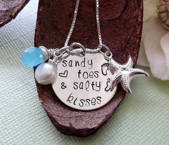 Sandy Toes And Salty Kisses Necklace Beach Girl by MadeFromWithin, $47.00