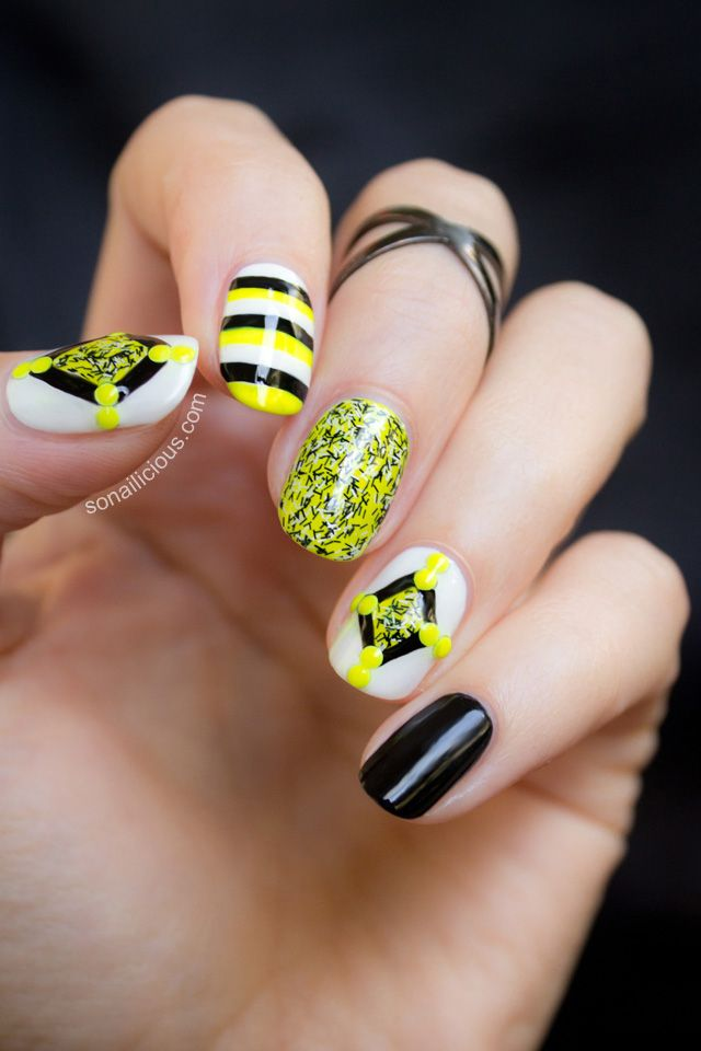 So Nailicious- fuzzy coat nail polish nail art 2