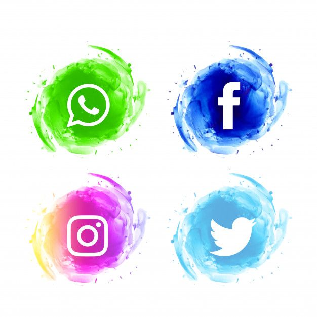 Download Abstract Social Media Watercolor Icons Set For Free In