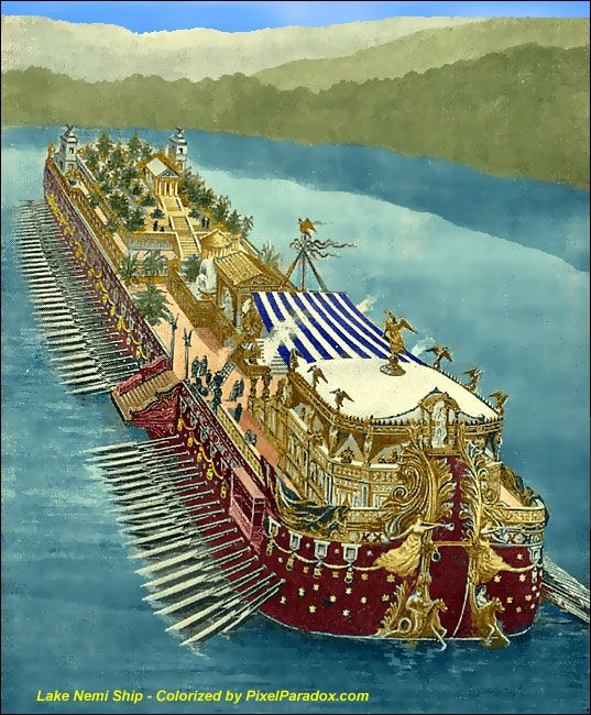 Roman Emperor Caligula and the fantastic Nemi Barges discovered at the bottom of the lake.