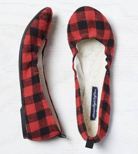Red American Eagle Outfitters Buffalo Plaid Check Ballet Flat I just bought these today and they are adorable!