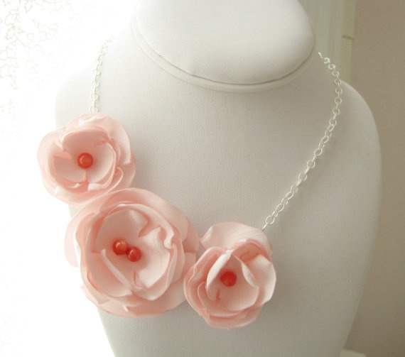 Beautiful pink and coral fabric flower necklace