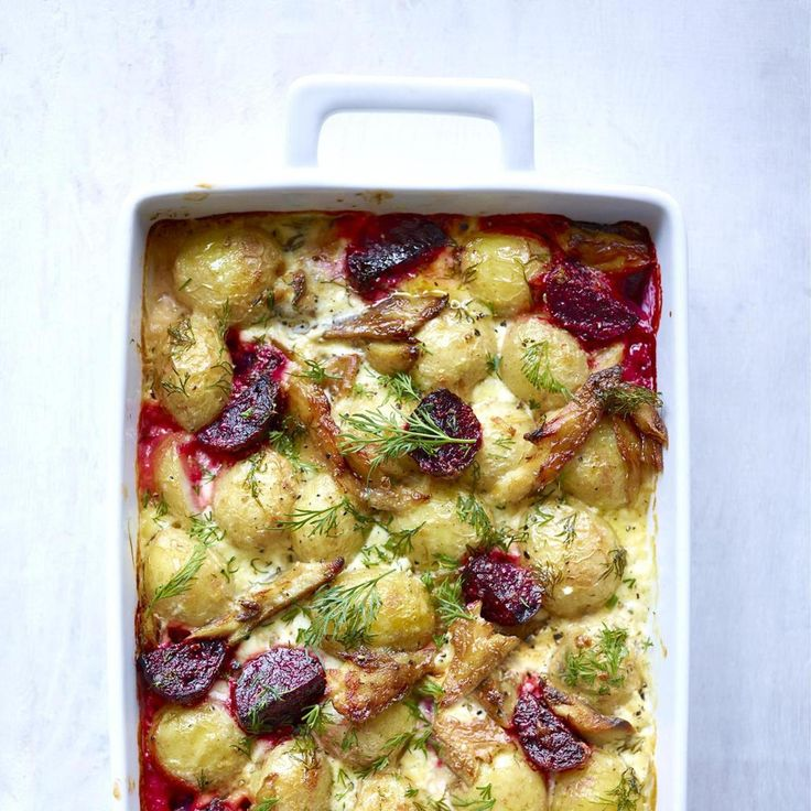 JERSEY ROYAL, SMOKED MACKEREL, BEETROOT AND HORSERADISH BAKE, a delicious recipe in the new M&S app.