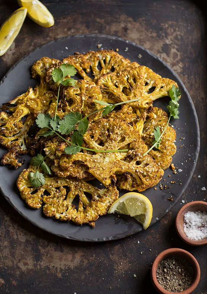 Roasted cauliflower 'steaks' with curry and dukkah #vegetarian #recipe