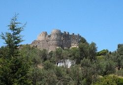 Asklipio Medieval Fort,Rhodes.The castle sits precariously atop the highest hill of the village and it is easily seen from the valley below and from the road.