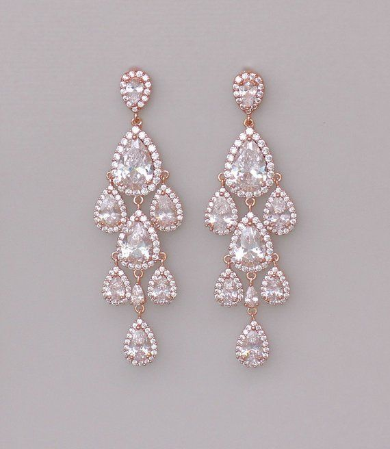 2bab9ae959cb Rose Gold Chandelier Teardrop Earrings