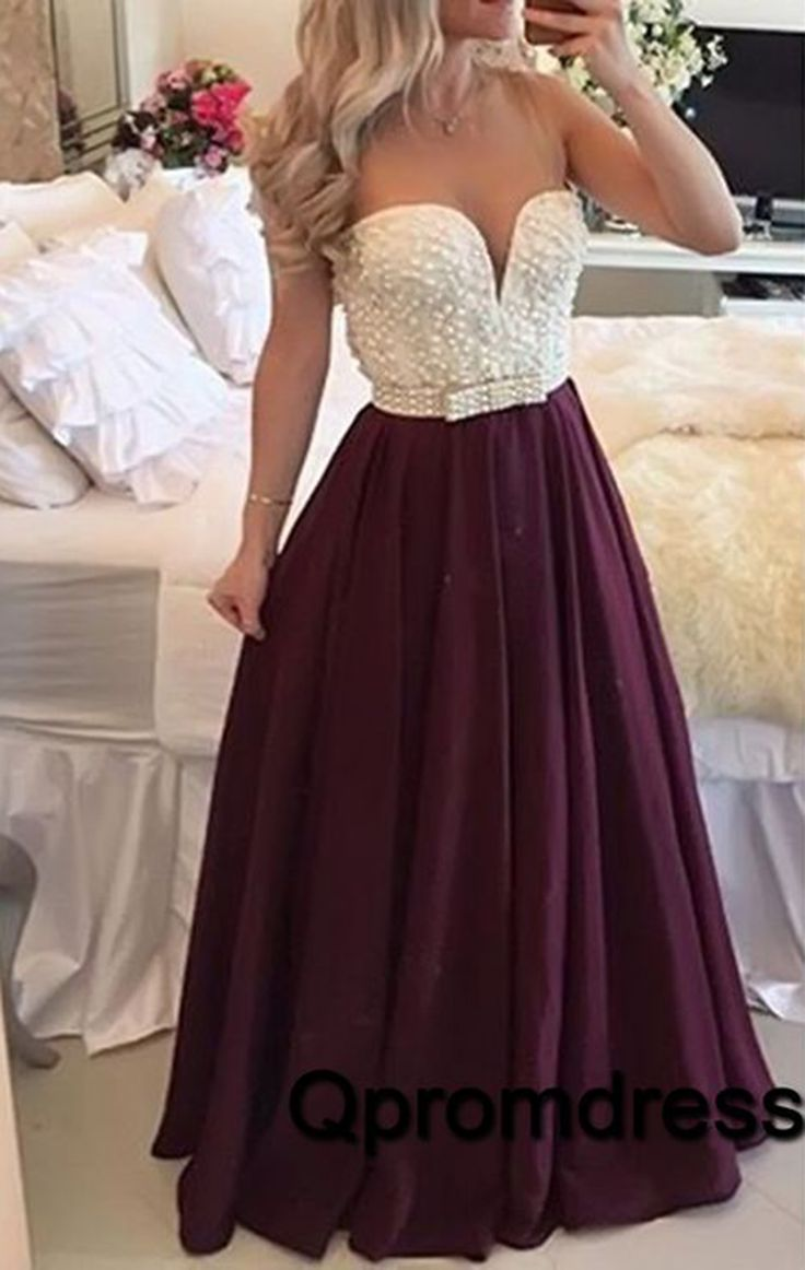 Cute bungundy customize prom dress with pearl