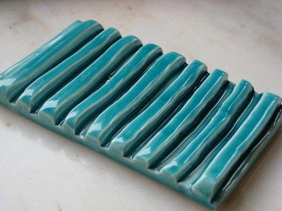 Turquoise Soap dish por azulado en Etsy