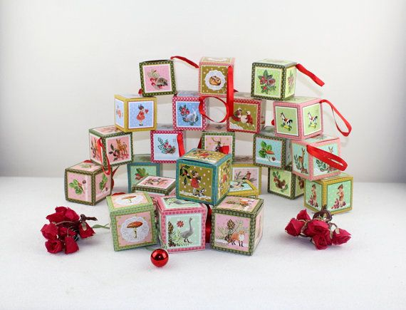 Vintage Advent Calendar made of paper cardboard handmade Christmas decoration kids wishes come true Christmas tree ornaments