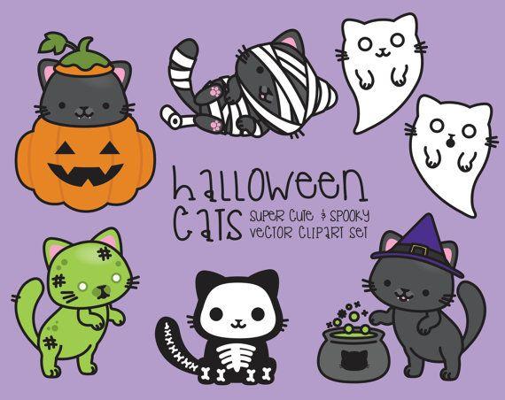 Premium-Vektor Clipart  Kawaii Halloween von LookLookPrettyPaper