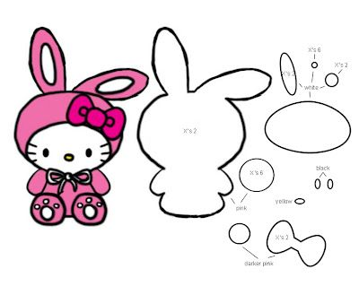 Bunny Hello Kitty Template.Pattern | Uie♥Craft