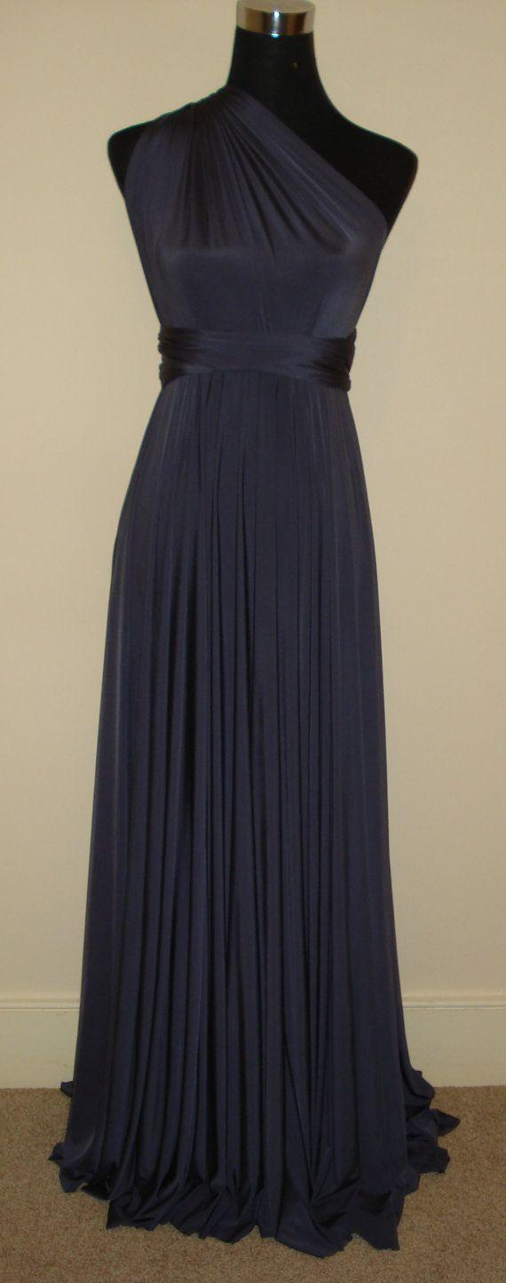 Platium grey floor length dress, infinity dress, convertible dress, multiway bridesmaid dress, prom cocktail formal wedding party dress