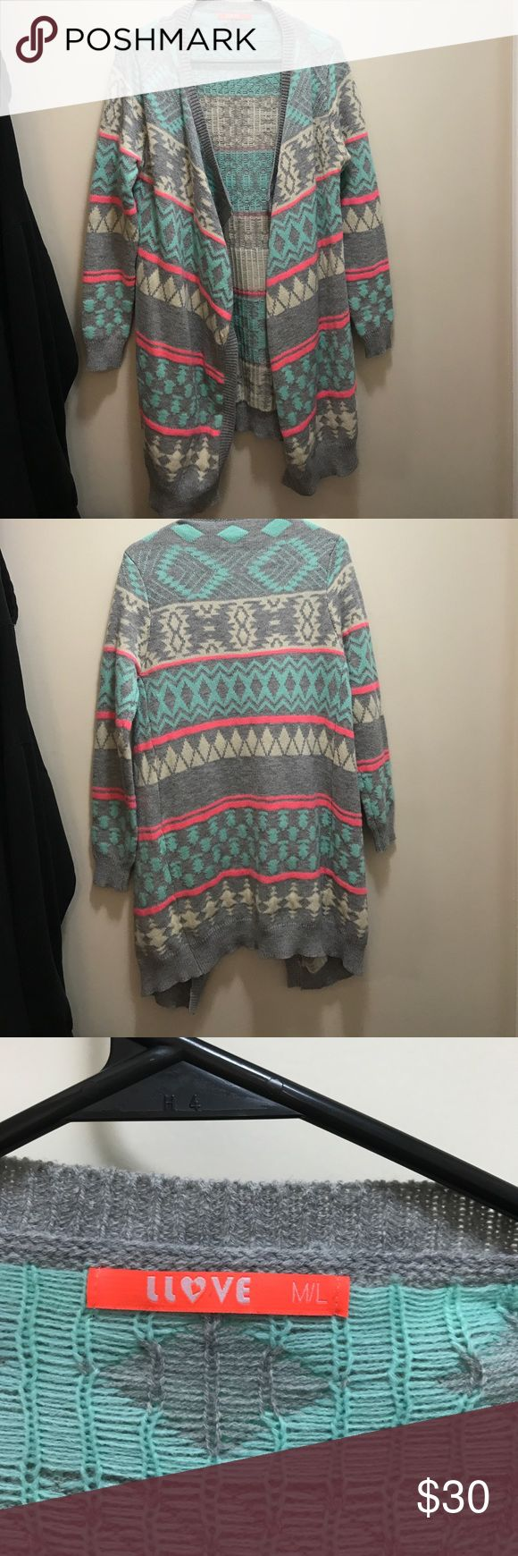 Llove Gray Cardigan with Neon Color Accents EUC Worn one time to a campfire. Washed after one time. Beautiful light gray with neon pink and blue accents. Aztec pattern detailing llove Sweaters Cardigans